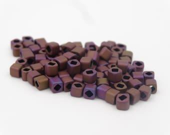 Toho Beads 4mm Cube Matte Mauve Mocha  20 grams