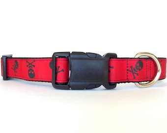 Halloween Dog Collar Red and Black Skull and Crossbones - Adjustable, Pirate Scary, Spooky, Bones