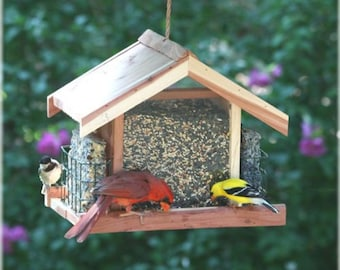 Custom Engraved Cedar Wood Bird Feeder - Includes Text and Image Engraving! Great Gift for Parents or Grandparents