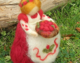 Cranberry Mother - Waldorf inspired needle felted standing doll  soft sculpture - Made To Order
