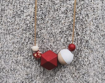 Wooden bead necklace // Hand Painted // Red splatter and White Necklace