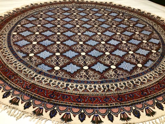 Traditional round tablecloth, calico fabric with natural colours, 60 inches with tassels