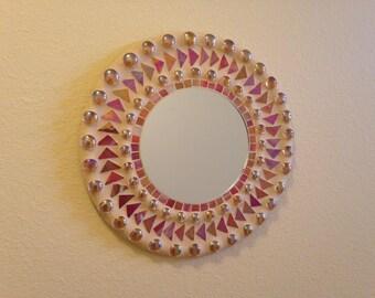 12in. Round mosaic mirror