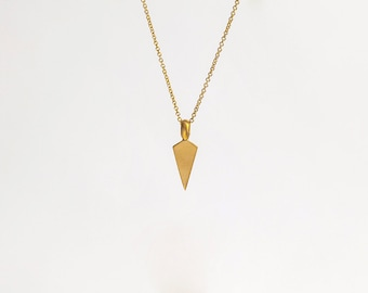 22k Solid Gold Pendant, Gold Necklace, Triangle Pendant, Arrowhead Pendant, Layered Pendant, Vertical Necklace Men, 22k Gold 14k Yellow Gold