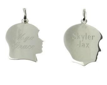 925 Sterling Silver Children Silhouette Personalized Pendant Monogram