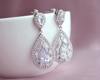 Bridal crystal earrings, crystal drop earrings, wedding jewelry, large teardrop earrings