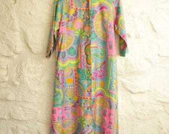1970s Print Maxi Dress, Psychedelic Coat, Pop Art Spring Coat