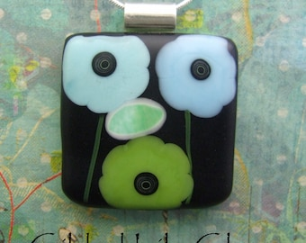 Midnight in the Garden Fused Glass Pendant, Fused Glass Jewelry Handmade in North Carolina