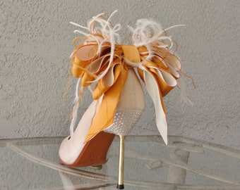 Bridal Party Wedding Burnt Orange And Ivory Satin Ribbon Bow And Feather Shoe Clips Set Of Two More Colors Available
