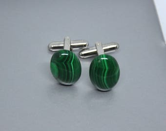 Malachite Cufflinks, Gemstone Cuff Links,  Malachite Gemstone, Gift For Him, Unique Gift, Green Cuff Links, Genuine Malachite