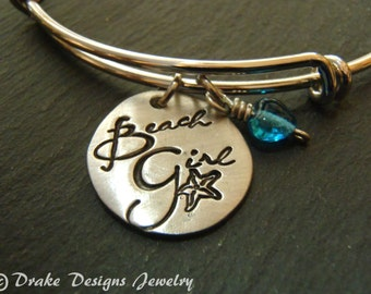 Hand stamped beach girl bracelet bangle beach jewelry 4th July Summer outdoors gift for beach lover