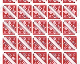Set of 60 Bill Due Stickers for Various Planners, Calendars, and Journals