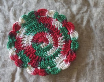 4 crocheted drink coasters 4 ply mercerised cotton