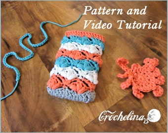 Pattern and Video Tutorial: Coral Turquoise White Phone Case- for larger phones like the Iphone 6 plus, Motorola Droid Turbo, Samsung s6