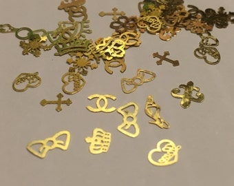 50 pieces assorted gold metal nail charms, 4-7 mm (S11)