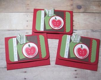 Set of 3 Apple Gift Card Holders