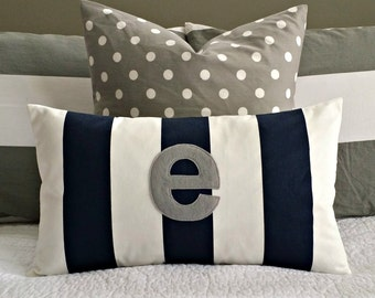 Monogrammed Lumbar Pillow Cover - Navy and White Stripe with Soft Grey Monogram