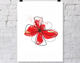 red modern flower, Digital Download, instant art, contemporary floral art, bright modern floral, big flower wall decor,