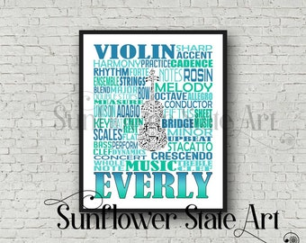 Violin Typography, Personalized Violin Poster, Violin Print, Violin Art, Violinist Gift, Custom Violin, Band Gift, Orchestra Violin Player