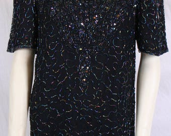 vintage 80s BEADED SILK SHIRT, beaded top, silk blouse,  Glam Drag Diva sz X-Small Landmark tunic