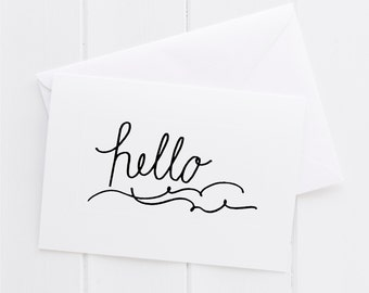 Hello Hand lettered black & white notecard,color thank you print, typography thanks card,baby shower,baby carriage note card