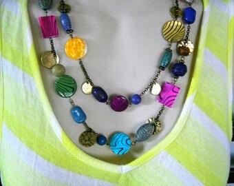 Necklace / Multi-colored Necklace / Double Strand Necklace / Beaded Necklace / Statement Necklace / Handcrafted Necklace / Boho Necklace