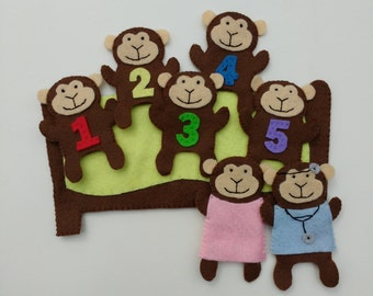 Five Little monkeys finger puppet set
