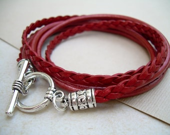 Red Leather Bracelet, Womens Triple Wrap Leather Bracelet with Toggle Clasp, Metallic Red, Womens Bracelet, Womens Jewelry