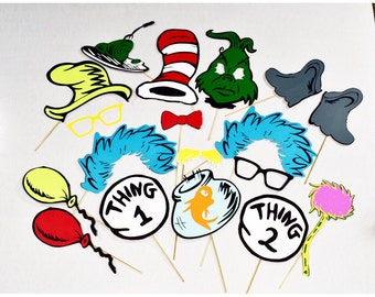 Cat in the Hat inspired party props **18 pc** dr seuss inspired, thing one, thing two, grouch, green eggs and ham