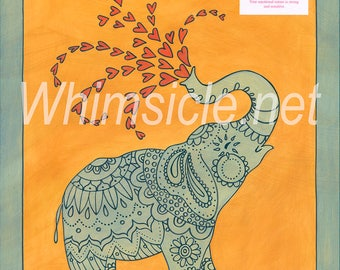 "Elephant Art Print inspired by fortune cookies ""Love"" matted"
