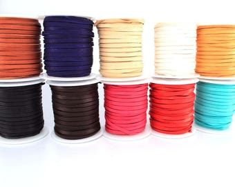 """1/8"""" Deerskin Lace Spool, Deerskin Roll 50 Feet x 3mm, Leather Cord for Necklaces, Bracelets, Jewelry and Beads Genuine Leather Supplies"""