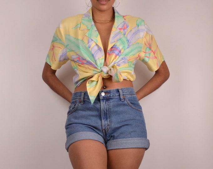 SALE 90's Pastel Silk Leaf Print Shirt button down vintage