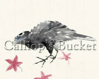 """Crow and Maple Leaves, ink on paper. (all artworks are sold without the """"Calliope's Bucket"""" stamp)"""
