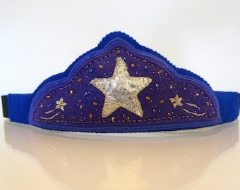Golden Star Felt Play Crown/Tiara for Dress ups and Pretend Play