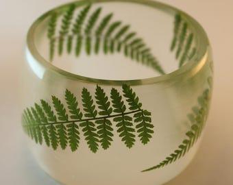 Fern bangle, large fern bracelet, botanical bracelet, fern bracelet, resin and fern bracelet, transparent bangle, made in Canada