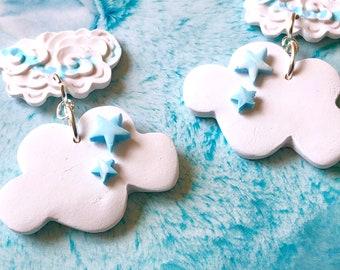 WHITE Cloud Earrings, white cloud jewelry, star cloud earrings, cloud shape earrings, drop cloud earrings, puffy clouds, polymer earrings