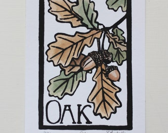 Oak- Block Print Original- FREE SHIPPING