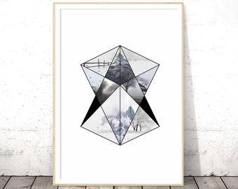 Affiche Scandinave, Geometric Wall Art, Triangle Print, Printable Poster, Digital Download, Black and White, Scandinavian Art, Nordic Decor
