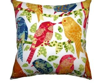 Birds Outdoor Pillow Cover - Red, Blue, Pink, Golden Yellow Birds Throw Pillow - Ash Hill Garden OUTDOOR Pillow - Birds Patio Accent Pillow