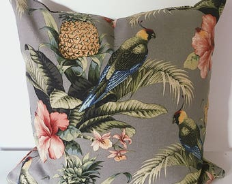 Parrot on grey with tropical leaves outdoor cushion cover, tropical decor