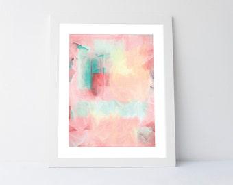 Abstract artwork, wall art printable, modern print, pink wall print, coral print,pink artwork,coral wall art,modern wall decor, pastel color