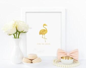 Digital print,Stand tall darling,faux gold,flamingo print,modern,minimalist,gold flamingo,wall art,instant download