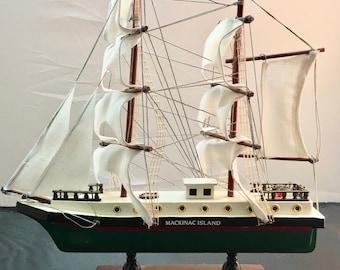 Mackinac Island Souvenir Wooden Model Sailing Ship
