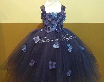 Navy Blue/Light Blue Flower Girl Dress/Flower Girl Dresses/Bridesmaid Dress/Princess Dress/Formal Dress/Simple Wedding Dress/Wedding/Gift