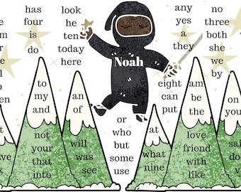 Ninja Placemat - Kindergarten Sight Words (Boy or Girl 2)