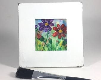 """Floral Wildflowers Small Watercolor Framed Original One-of-A-Kind Painted White Painted Slate Frame 3 3/4"""""""