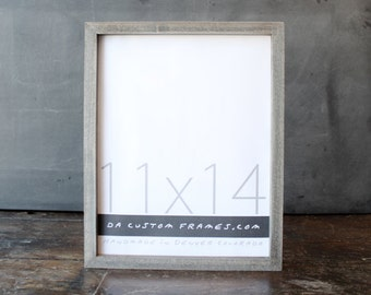 11x14 picture frame with driftwood gray finish part of Drift Collection . 11x14 handmade picture frame .