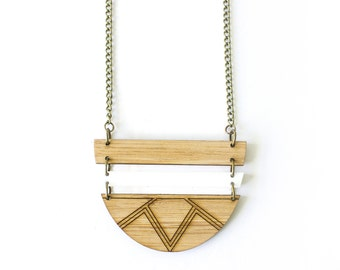 Long necklace - wooden necklace - wooden jewelry -  wooden pendant - Australian jewellery