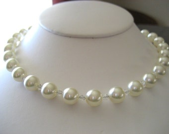 Swarovski Pearl and Crystal Necklace - Cream...with free matching earrings...Custom Colors...FREE SHIPPING