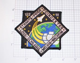 STS-122 Space Shuttle Atlantis Iron-on Mission Patch Collectible Memorabilia NASA Eyharts Frick Poindexter Love Schlegel Melvin Walheim Logo
